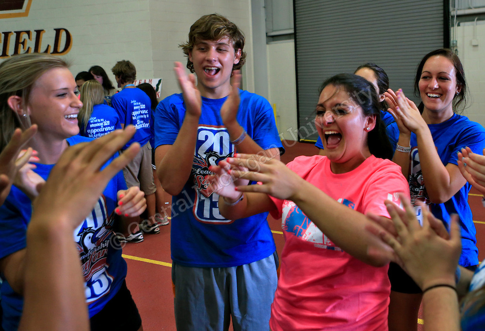 Incoming freshmen do team building exercises  on the Leadership Challenge Course in the IAC during CMU Leadership Safari on Monday. More than 1,800 students arrived early for the welcome session. The Safari continues through Wednesday.