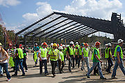 Engineering students touring the site of Walter Fieldhouse at the Walter Fieldhouse Topping Off ceremony, October 2, 2013.