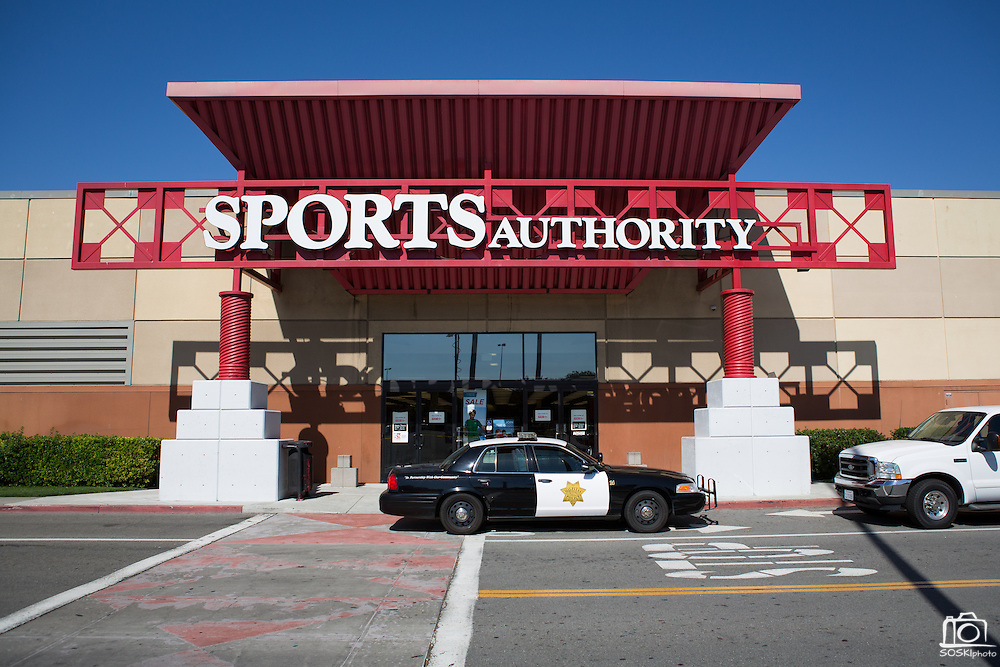 Milpitas Police investigate a homicide that occurred inside the Sports Authority store at the Great Mall in Milpitas, California, on June 7, 2013.  One man was killed and another quickly taken into custody.  Police say there are no outstanding suspects. (Stan Olszewski/SOSKIphoto)