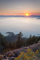 """Sunset Above Sand Harbor"" - This sunset was photographed from the Flume Trail above Sand Harbor, Lake Tahoe."