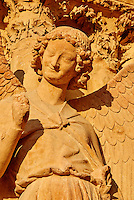 France, Marne (51), Reims, la cathédrale Notre-Dame de Reims, classée Patrimoine Mondial de l'UNESCO, cathédrale des sacres des rois de France, sculpture représentant l'ange au sourire // France, Champagne, Reims, Reims Cathedral, Guardian Angel Saint-Nicaise (Angel in Smile) (Smile of Reims)