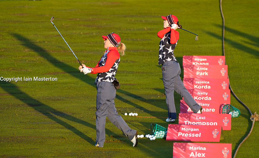 Solheim Cup 2019 at Centenary Course at Gleneagles in Scotland, UK. Morgan Pressel and Brittany Altomare of USA on practice range on final day