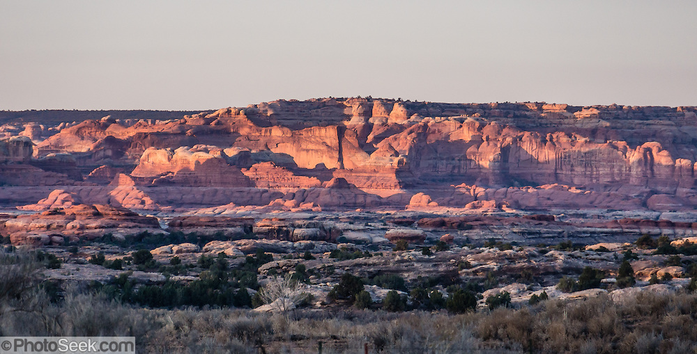 Sandstone formations of the Needles District of Canyonlands National Park are seen from Needles Outpost Campground just outside the park, in Utah, USA. The Permian rocks of the Needles District formed where red alluvial fans from the east interwove with white dunes from the west, making spires striped red and white.