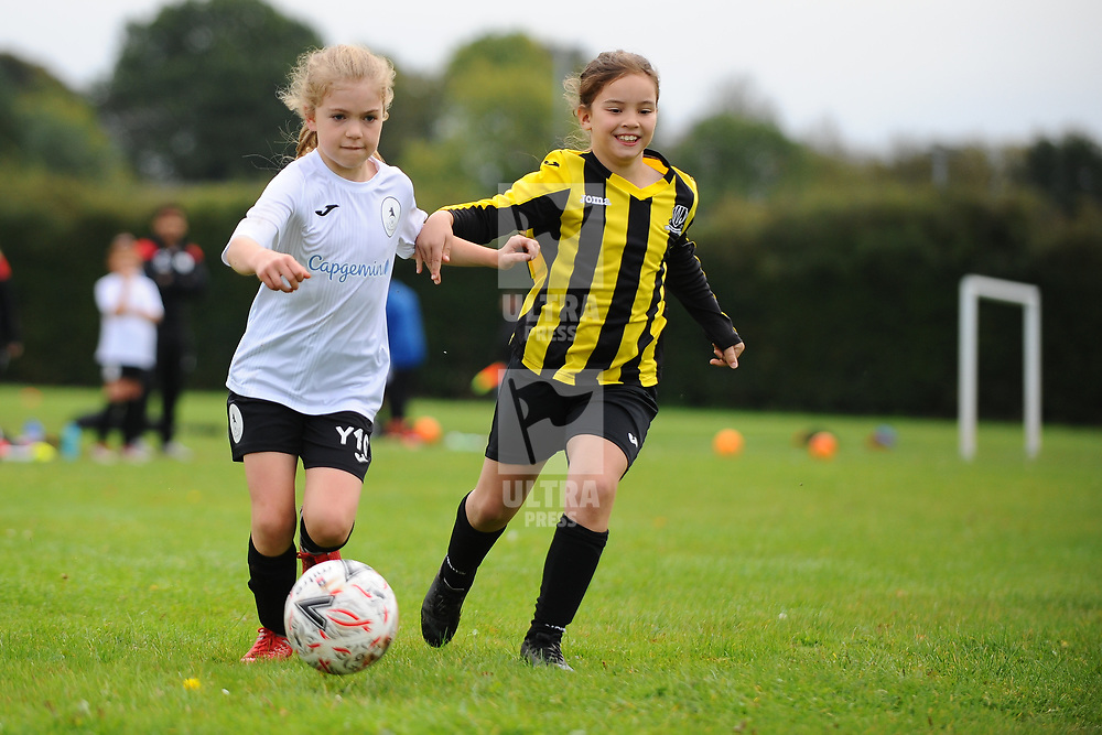 TELFORD COPYRIGHT MIKE SHERIDAN Action from AFC Telford United academy ladies/girls u10 vs Worthen Juniors at Idsall Sports Centre on Saturday, October 12, 2019.<br /> <br /> Picture credit: Mike Sheridan/Ultrapress<br /> <br /> <br /> <br /> MS201920-026