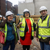 Amy Lamé, visits site of new music venues on Denmark Street