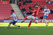 Charlton Athletic attacker Lyle Taylor (9) missing a chance during the EFL Sky Bet League 1 match between Charlton Athletic and Rochdale at The Valley, London, England on 4 May 2019.