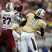 South Carolina Gamecocks cornerback Victor Hampton (27) intercepts the football during an NCAA football game between the South Carolina Gamecocks and the Central Florida Knights at Bright House Networks Stadium on Saturday, September 28, 2013 in Orlando, Florida. (AP Photo/Alex Menendez)