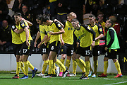Burton Albion forward Nathan Broadhead (9) scores a goal and celebrates 2-0 during the EFL Cup match between Burton Albion and Bournemouth at the Pirelli Stadium, Burton upon Trent, England on 25 September 2019.