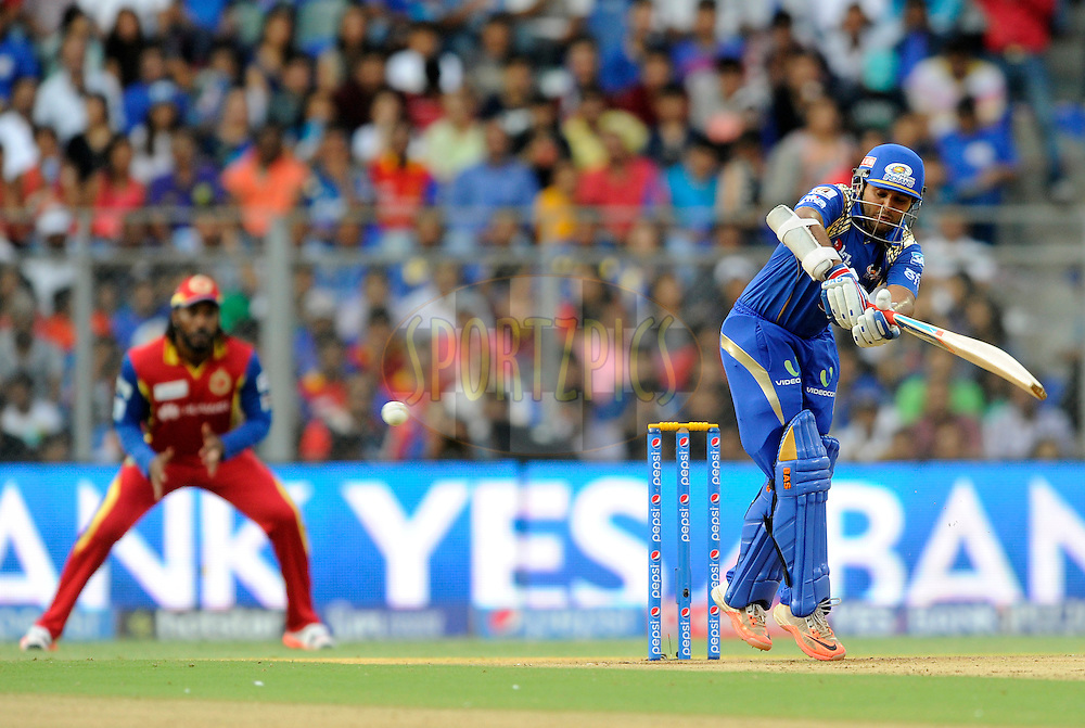 Parthiv Patel of Mumbai Indians bats during match 46 of the Pepsi IPL 2015 (Indian Premier League) between The Mumbai Indians and The Royal Challengers Bangalore held at the Wankhede Stadium in Mumbai, India on the 10th May 2015.<br /> <br /> Photo by:  Pal Pillai / SPORTZPICS / IPL