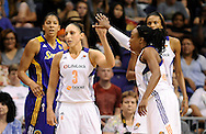 Sep 21, 2013; Phoenix, AZ, USA; Phoenix Mercury guard Diana Taurasi (3) is congratulated by teammate guard Alexis Hornbuckle (14) during the against the Los Angeles Sparks in the first half during Game 2 of a WNBA basketball Western Conference semifinal series at US Airways Center. Mandatory Credit: Jennifer Stewart-USA TODAY Sports
