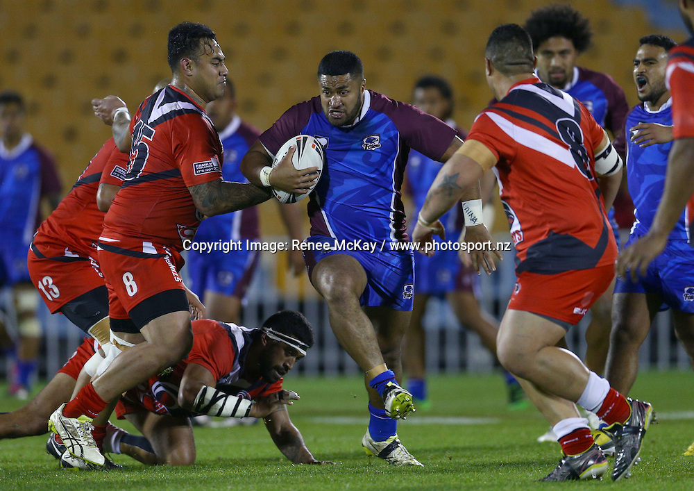 Falcons prop Laupepa Pasene on the charge at the NZRL national premiership match between Akarana Falcons vs Counties Manukau Stingrays, at Mt Smart stadium, Auckland, 16 September 2016. Copyright Image: Renee McKay / www.photosport.nz