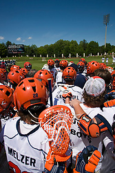 UVA huddles up before facing Villanova.  The #5 ranked Virginia Cavaliers defeated the #19 ranked Villanova Wildcats 18-6 in the first round of the 2008 NCAA Men's Lacrosse Tournament the University of Virginia's Klockner Stadium in Charlottesville, VA on May 10, 2009.