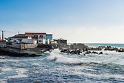 Waves crushing against the coastline, Madalena, Island of Pico, Azores, Portugal