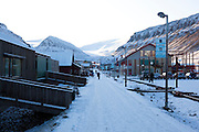 Main street of the town of Longyearbyen, Svalbard. The northernmost settlement with more than 1,000 people on earth, and is quite well-serviced town, with an airport and university and hospital, just 1300km from the North Pole.