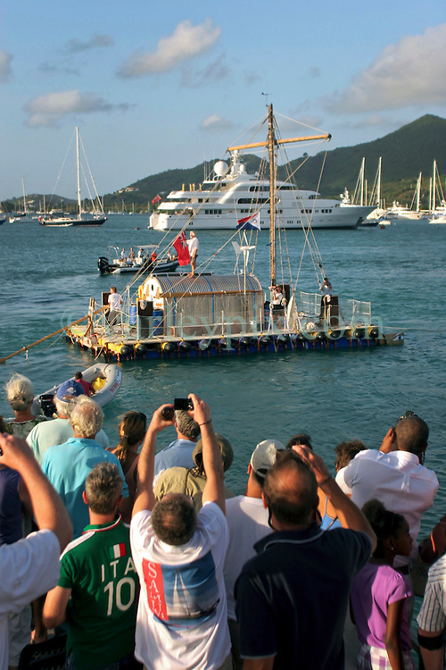 06 April 2011. St Maarten, Antilles, Caribbean.<br /> Crew of the Antiki arrive in the islands following their epic 9 week trans-Atlantic raft voyage from the Canary islands. <br /> John Russell, solicitor and UK resident, Anthony Smith (84 yrs old) British adventurer, David Hildred, sailing master and British Virgin Islands resident,  Dr Andrew Bainbridge of Alberta, Canada.<br /> Photo; Charlie Varley/varleypix.com