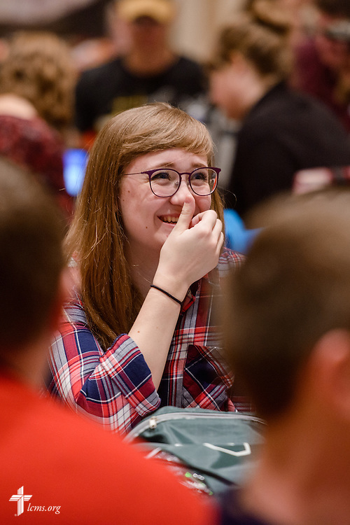 An attendee laughs during a plenary session at the Liberty National LCMS Campus Ministry Conference on Wednesday, Jan. 4, 2017, at the University of Maryland in College Park, Md. LCMS Communications/Erik M. Lunsford