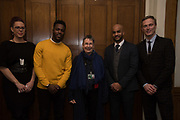 NATASHA DEVON; MO GILLIGAN; ANN COFFEY MP; LEON MCKENZIE; MARTIN DAUBNEY, Ann Coffey MP hosts a reception and panel debate  on behalf of Harry's Grooming to launch the Masculinity Report. Houses of Parliament. 16 November 2017.