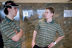 Ales Sila and Ales Music at meeting of Slovenian Ice-Hockey National team, on April 15, 2010, in Hotel Lev, Ljubljana, Slovenia.  (Photo by Vid Ponikvar / Sportida)
