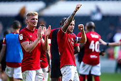 Josh Brownhill of Bristol City and Taylor Moore of Bristol City celebrate victory over Hull City - Mandatory by-line: Robbie Stephenson/JMP - 24/08/2019 - FOOTBALL - KCOM Stadium - Hull, England - Hull City v Bristol City - Sky Bet Championship