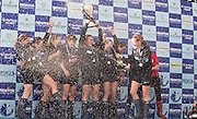 London, Great Britain, let th celebrations start as Oxfrof secure the first win of the The Newton Women's Boat Race, on the Championship Course.  River Thames. Putney to Mortlake. ENGLAND. <br /> <br /> 17:26:56  Saturday  11/04/2015<br /> <br /> [Mandatory Credit; Peter Spurrier/Intersport-images]<br /> <br /> OUWBC Crew: <br /> Maxie SCHESKE, Anastasia CHITTY, Shelley PEARSON, Lauren KEDAR, Maddy BADCOTT, Emily REYNOLDS, Nadine GRAEDEL IBERG, Caryn DAVIES and Cox Jennifer EHR