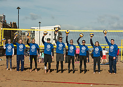Today marks one year to go before the next Commonwealth Games get underway in Gold Coast, Australia. Athletes from a number of sports joined Scottish Beach Volleyball players, including top duo Lynne Beattie and Mel Coutts, on the new permanent courts on Portobello Beach this morning. The athletes joined with children from Towerbank Primary School to try out the game in the Portobello sunshine.   Pictured: Seonaid McIntosh, Claire Brownie, Beck Merchant, Seain Cooke, Robin Miedzybrodzki, Lynne Beattie, Mel Coutts, Sarah Thomson, Scott Riddell <br /> <br /> <br /> &copy; Jon Davey/ EEm