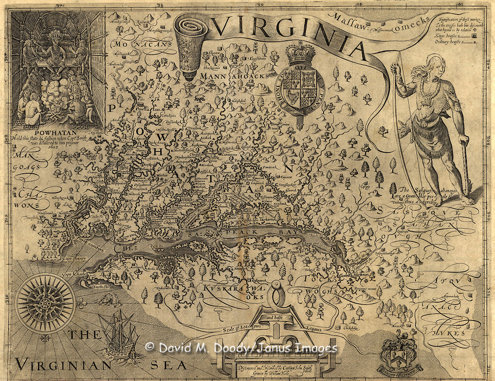 "Virginia, discovered and described by Captain John Smith,  graven by William Hole. ""The John Smith Map"". Smith, John, 1580-1631.  CREATED/PUBLISHED.[London; 1624]. NOTES: Sixth state."