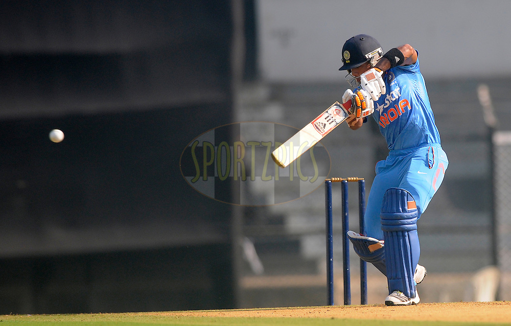 Unmukund Chand of India bats during the practice match between India A and Sri Lanka held at the CCI Stadium, Mumbai,  India on the 30th October 2014<br /> <br /> Photo by:  Pal Pillai/ Sportzpics/ BCCI