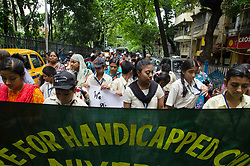 August 28, 2017 - Kolkata, West Bengal, India - Special children have taken part in a unique walk to make the mass aware of the disability sports, on 28th August in Kolkata West Bengal, India. (Credit Image: © Avijit Ghosh/Pacific Press via ZUMA Wire)