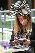 Raecgoer studying form prior to Day 2 at the York Dante Meeting at York Racecourse, York, United Kingdom on 17 May 2018. Picture by Mick Atkins.