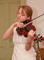 Audrey Budington on the Fiddle at Lane Tavern in Sanbornton, New Hampshire.  (Karen Bobotas/for the Laconia Daily Sun)