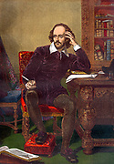 Colour portrait of William Shakespeare (1564-1616) (English playright) circa 19th Century