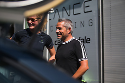 Cylance Pro Cycling DS Manel Lacambra shares a light-hearted moment with team staff before Stage 2 of the Madrid Challenge - a 100.3 km road race, starting and finishing in Madrid on September 16, 2018, in Spain. (Photo by Balint Hamvas/Velofocus.com)