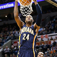 02 December 2013: Indiana Pacers small forward Paul George (24) dunks the ball during the Portland Trail Blazers 106-102 victory over the Indiana Pacers at the Moda Center, Portland, Oregon, USA.