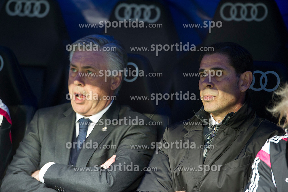 14.02.2015, Estadio Santiago Bernabeu, Madrid, ESP, Primera Division, Real Madrid vs Deportivo La Coruna, 23. Runde, im Bild Real Madrid&acute;s coach Carlo Ancelotti and Fernando Hierro // during the Spanish Primera Division 23rd round match between Real Madrid vs Deportivo La Coruna at the Estadio Santiago Bernabeu in Madrid, Spain on 2015/02/14. EXPA Pictures &copy; 2015, PhotoCredit: EXPA/ Alterphotos/ Luis Fernandez<br /> <br /> *****ATTENTION - OUT of ESP, SUI*****