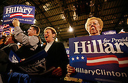 Supporters of Democratic presidential hopeful Sen. Hillary Clinton (D-NY) cheer before a town hall meeting in Hammond, Indiana, Friday, March 28, 2008. Clinton traveled to four Indiana cities Friday campaigning ahead of the state's May 6 primary. (UPI)