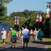 August 19, 2014, New Haven, CT:<br /> Connecticut Open Pole Banners are shown on day five of the 2014 Connecticut Open at the Yale University Tennis Center in New Haven, Connecticut Tuesday, August 19, 2014.<br /> (Photo by Billie Weiss/Connecticut Open)