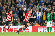 GOAL -1-0 Southampton midfielder Pierre-Emile Hojbjerg (23) celebrates  during the Premier League match between Southampton and Brighton and Hove Albion at the St Mary's Stadium, Southampton, England on 17 September 2018.