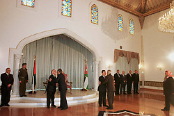 New Crown Prince Abdallah (or Abdullah) receives congratulations in the Throne Hall, at the Royal palace in Amman, Jordan on January 27, 1999. Twenty years ago, end of January and early February 1999, the Kingdom of Jordan witnessed a change of power as the late King Hussein came back from the United States of America to change his Crown Prince, only two weeks before he passed away. Photo by Balkis Press/ABACAPRESS.COM
