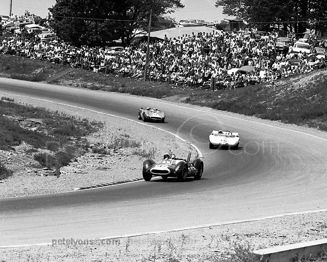 Bruce McLaren (McLaren-built Cooper-Olds) leads Jim Hall (Chaparral) and AJ Foyt (Scarab)thru Mosport Park's turn 1 at 1964 Players 200; Pete Lyons photo