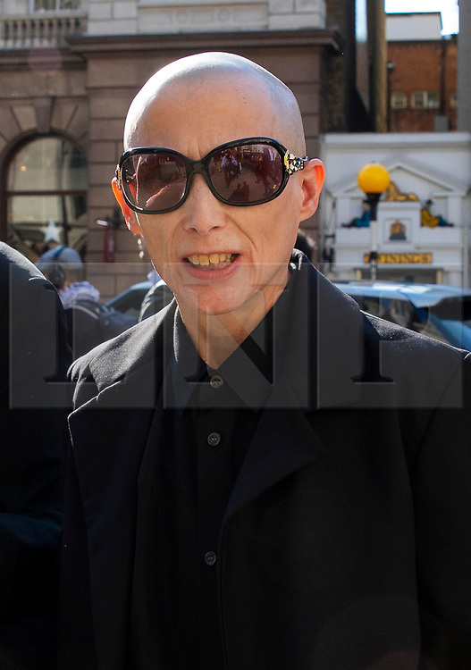 © Licensed to London News Pictures. 18/04/2018. London, UK. Campaigner Christie Elan-Cane arrives at The Royal Courts of Justice for the start of a two-day hearing over gender neutral 'X' passports.  Elan-Cane believes the UK's passport application process, which requires individuals to indicate whether they are male or female, is discriminatory. Photo credit: Rob Pinney/LNP