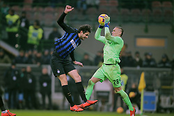 February 3, 2019 - Milan, Milan, Italy - Andrea Ranocchia #13 of FC Internazionale Milano competes for the ball with Lukasz Skorupski #28 of Bologna FC during the serie A match between FC Internazionale and Bologna FC at Stadio Giuseppe Meazza on February 3, 2019 in Milan, Italy. (Credit Image: © Giuseppe Cottini/NurPhoto via ZUMA Press)