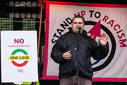 London, UK. 16th March, 2019. Manuel Cortes, General Secretary of the Transport Salaried Staffs' Association (TSSA), addresses thousands of people on the March Against Racism demonstration on UN Anti-Racism Day against a background of increasing far-right activism around the world and a terror attack yesterday on two mosques in New Zealand by a far-right extremist which left 49 people dead and another 48 injured.
