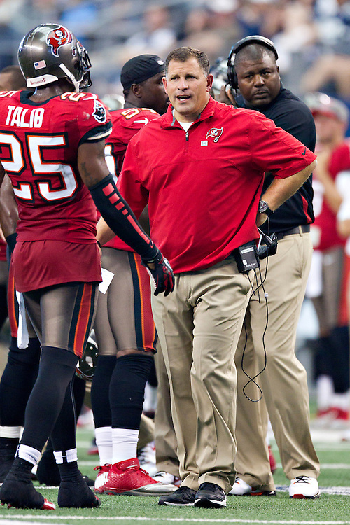 DALLAS, TX - SEPTEMBER 23:  Head Coach Greg Schiano of the Tampa Bay Buccaneers on the sidelines during a game against the Dallas Cowboys at Cowboys Stadium on September 23, 2012 in Dallas, Texas.  The Cowboys defeated the Buccaneers 16-10.  (Photo by Wesley Hitt/Getty Images) *** Local Caption *** Greg Schiano