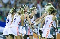 TUCUMAN Argentinie - Vreugde bij Oranje.  Finale tussen de vrouwen van Nederland en Australie (5-1) in de eindronde van de Hockey World League. Nederland winde HWL.  FOTO KOEN SUYK