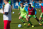 Forest Green Rovers Charlie Cooper(20) warming up during the Vanarama National League match between Guiseley  and Forest Green Rovers at Nethermoor Park, Guiseley, United Kingdom on 8 April 2017. Photo by Shane Healey.