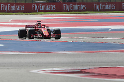 October 21, 2018 - Austin, TX, U.S. - AUSTIN, TX - OCTOBER 21: Ferrari driver Sebastian Vettel (5) of Germany races towards turn 6 during the F1 United States Grand Prix on October 21, 2018, at Circuit of the Americas in Austin, TX. (Photo by John Crouch/Icon Sportswire) (Credit Image: © John Crouch/Icon SMI via ZUMA Press)
