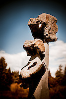 Zimsculpt at Van Dusen Botanical Garden : Comforting Mother - springstone sculpture by Dominic Benhura (original sculpture available at www.zimsculpt.com)