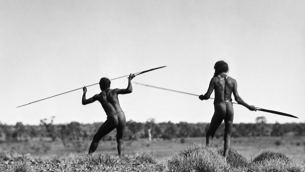 Aborigines stalking kangaroos, Central Australia, 1930