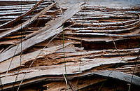 Golzern, Switzerland - splintered wood texture on a building.