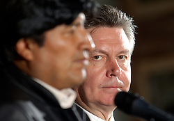 BRUSSELS, BELGIUM - MAY-16-2006 - Evo Morales, President of Bolivia, and  Karel De Gucht, Belgian Minister of Foreign Affairs, speak during a press conference in Brussels. Morales held talks with top Belgian government officials Tuesday on his energy nationalization plans. Morales had addressed lawmakers at the European Parliament in Strasbourg, France, on Monday, telling them he would not prevent European energy companies from investing in Bolivia. Earlier this month, he had announced plans to nationalize his South American country's natural gas and oil sector, causing widespread concern that was voiced during last week's EU-Latin America summit. EU leaders urged him not to adopt protectionist economic policies, which they said could be detrimental in fighting poverty and act as a deterrent to foreign investors. Bolivia has the second-largest natural gas reserves in South America, after Venezuela, reports the AP.(PHOTO © JOCK FISTICK)